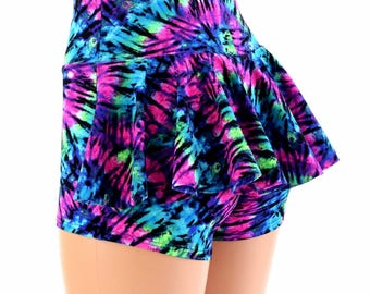 Turquoise & Purple Tie Dye UV Glow High Waist Ruffle Rump Spandex Booty Shorts - 154546