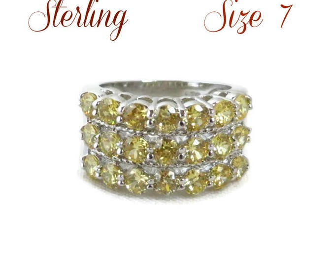 Vintage CZ Wide Band Ring | Sterling Silver Multistone Ring | Yellow CZ Wide Band Ring | Size 7