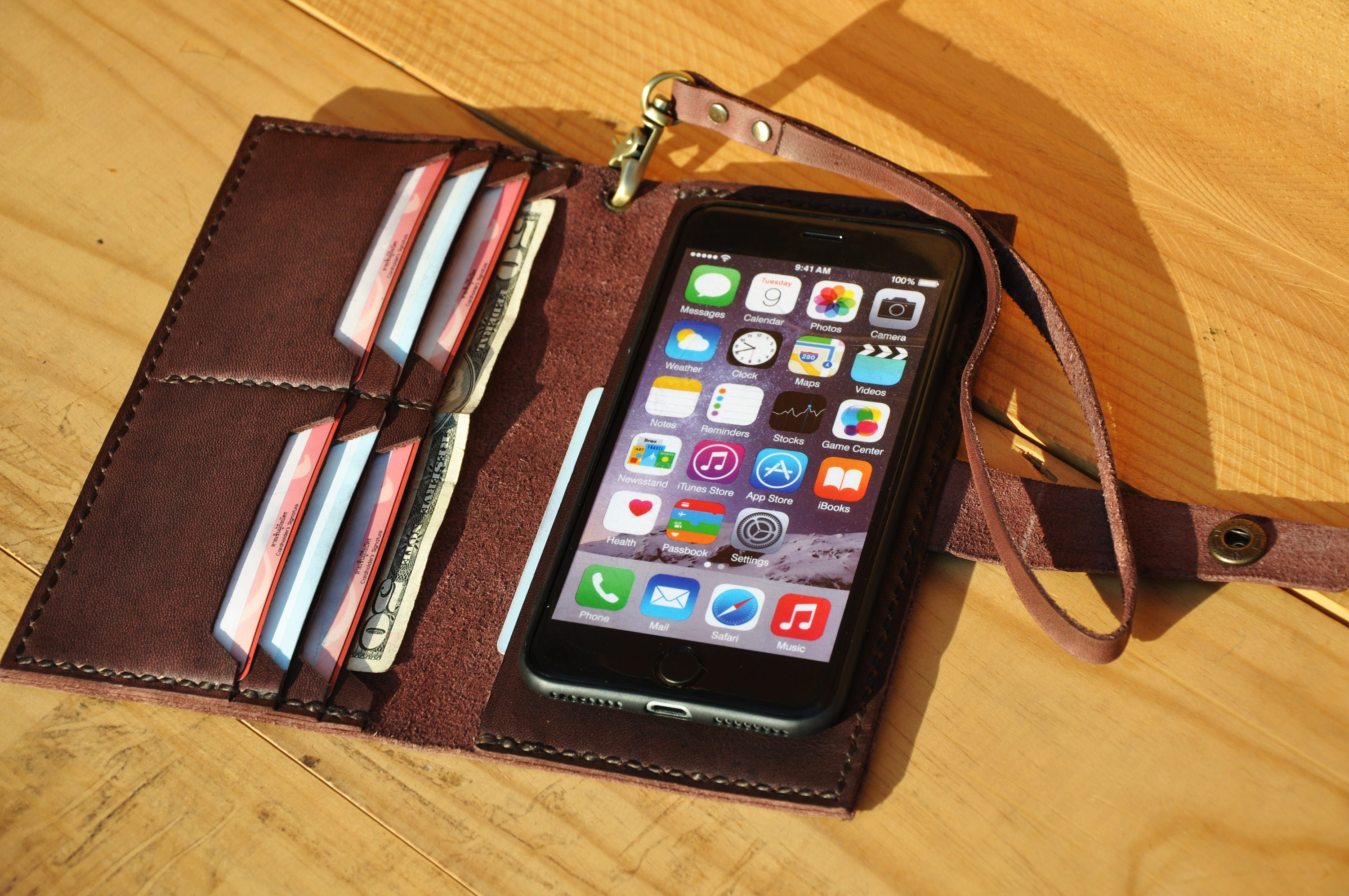 Leather business card holder handmade card holder card leather iphone 7 plus wallet case wristlet iphone 7 plus case iphone 6s plus case wallet magicingreecefo Gallery