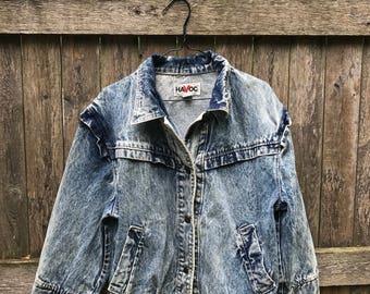 Ruffle Acid Wash Denim Jacket