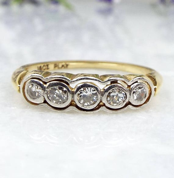 Antique 1920's Art Deco 18ct Platinum Yellow Gold 5 Diamond Target Ring / Size N1/2