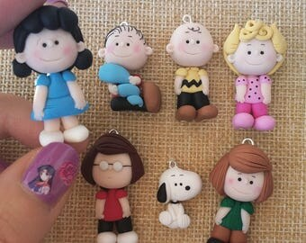 Peanuts charms, Charlie Brown, Lucy, Snoopy, Linus, cartoons, polymer clay