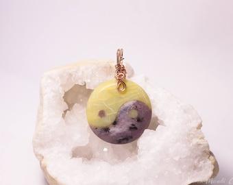 Yin Yang necklace, Yin yang pendant, Copper Wire wrapped gemstone amulet, unisex yoga necklace, hippie pendant zen necklace zen jewelry yoga