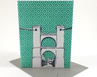 Waco, Texas Letterpress Card | Suspension Bridge | gray & green single blank card with envelope