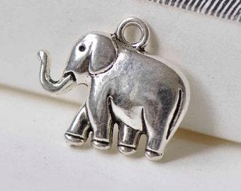 3D Elephant Pendants Antique Silver Animal Charms 20x24mm Set of 10 A7848