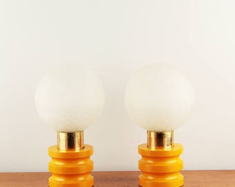 Space age pair of bed lamps with bubble glass shade - ca. 1970s