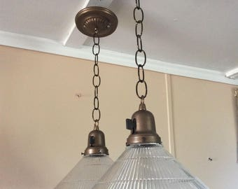 Vintage Pair Holophane Conical Pendant Lights Ribbed Glass  Chandeliers Industrial 1930s