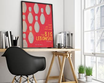 """The Big Lebowksi art poster. Print for Coen brothers film with Jeff Bridges as """"the dude"""""""