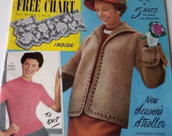 Vintage Needlework Illustrated Magazine, Retro Patterns Knitting, Crafting Embroidery Cross Stitch, 1950's Retro Hats Jumpers, Home crafting