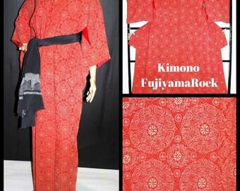 Red Kimono, Kimono Robe, Japanese Kimono, Vintage Kimono, Japanese Clothing, Boho Kimono, Floral Kimono, Kimono Jacket, Kimono, Japanese