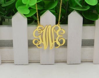 Monogram necklace gold-monogram pendant necklce-monogram initials necklace-sterling silver plated gold-Personalized gift for her