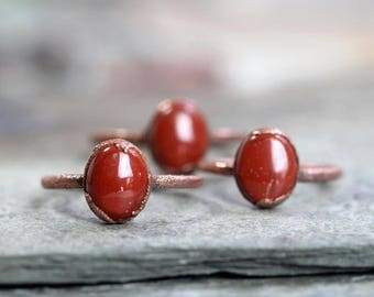 Red Jasper Ring Small Stone Ring Electroformed Ring Jasper Stone Simple Stone Ring Electroformed Copper Polished Stone