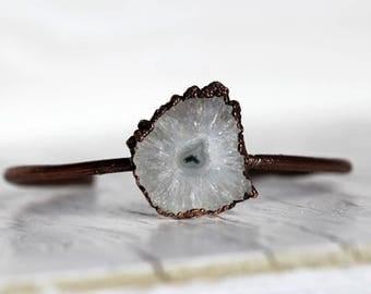 Crystal Bangle Electroformed Bracelet Solar Quartz Jewelry Copper Bracelet Electroformed Bangle Copper Bracelet