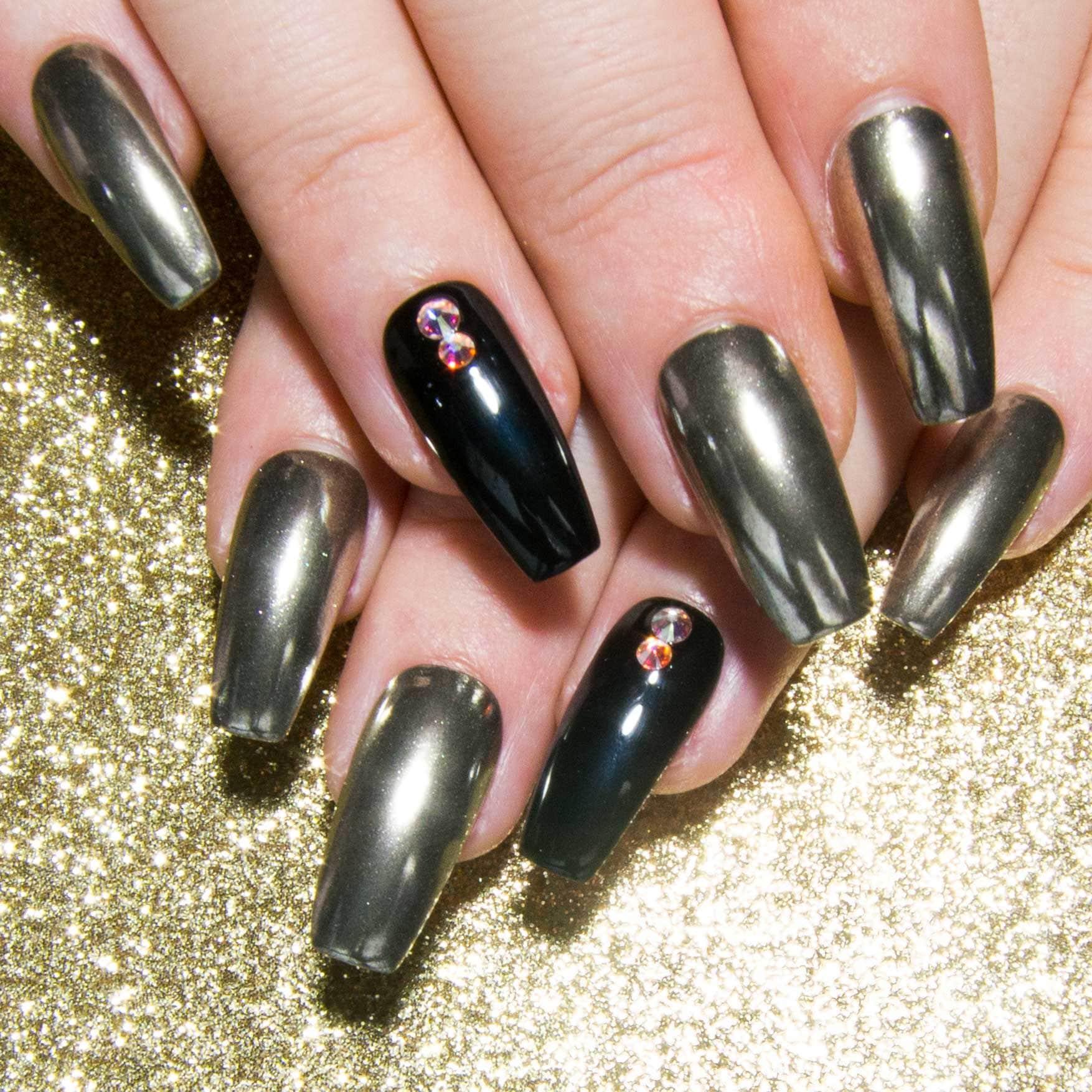 Crystal Chrome Nails: Black & Mirror Fake Nails