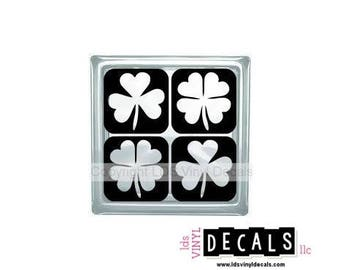 Four Leaf Clovers and Shamrocks - St. Patrick's Day Vinyl Lettering for Glass Blocks - Irish Craft Decals