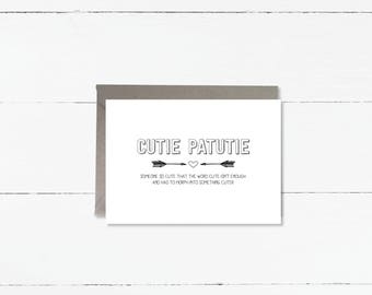 Cutie Patootie definition card