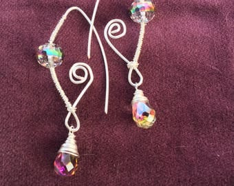 Earrings, Wire with Iridescent glass beads
