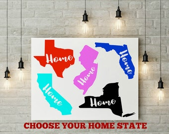 State Decal, Home State Decal, State Sticker, Texas Decal, California Decal, Florida Decal, Illinois Decal, Car Decal, Computer Decal,