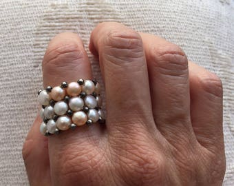 Wide band ring Pearl ring Wide pearl ring elastic ring fresh water pearls Jewelry  pearl jewelry wide ring  statement beaded rings