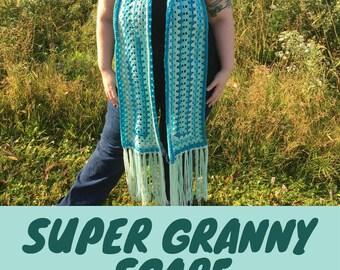 Super Granny Scarf, Crochet Pattern PDF, Modern, Caron Cakes, Photo Tutorial, Granny Square, Granny Stitch, Fringe, Easy, Beginner