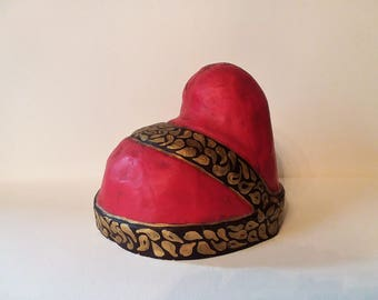"""Venetian Paper Mache Corona Ducal Red Gold Brown Purchased in Rome Italy Original Label Attached 6"""" tall 22.5"""" around"""