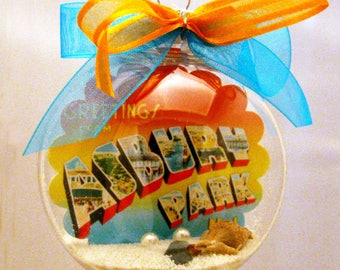 Greetings from Asbury Park New Jersey Springsteen Postcard Christmas Ornament - Unique Gift!