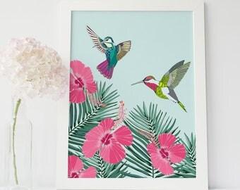 Gift for her, hummingbirds art print home decor, wall decor, tropical print, giclee print, contemporary art