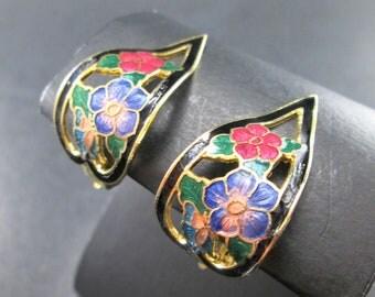 Vintage Enamel Gold Tone Flower Teardrop Earrings Clip On 60s