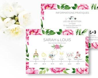 Peonies Wedding timeline - Floral Illustrated Program Timeline - Flowers Wedding Timeline - Peonies wedding - Wedding program