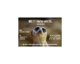 Invitation cards / invitations birthday Meerkat