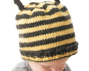 Busy Bee Hat KNITTING PATTERN - bumblebee insect knit hat pattern for babies, infants, toddlers - sizes 0-3 m, 6 m, 12 months, 2T+