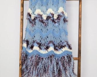 Handmade Hand Knit Blanket Blue Afghan Throw Fringe Home Decor Hippie Bohemian Knitted Afghan Handmade Blanket Throw Feather and Fan Stripe