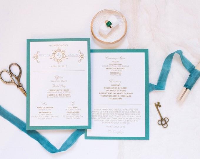 5x7 Jade, Teal & Gold Formal Monogram Printed Wedding Program