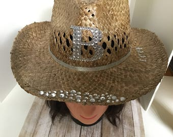 Bling cowgirl hat-country bride hat-straw hat-bachelorette cowboy hat-bride cowboy hat-pearl cowboy hat-western bride hat-crystal cowboy hat