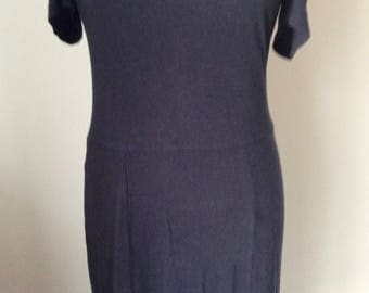 Navy blue cotton dress, SANDRO, brand in France, size 36/S, zip