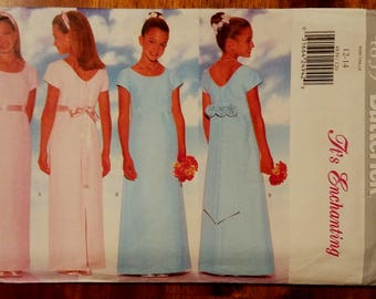 Butterick 4839 - Girls Junior Bridesmaid or Flower Girl Dress Pattern - Sizes 12 and 14
