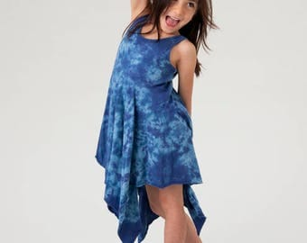 blue fairy dress tie dye girls dress girls gift faerie dress organic cotton dress