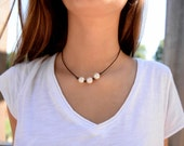 Knotty 3 Wishes Vegan Leather & Pearl Necklace - Beach Necklace - Vegan Necklace - Pearl Necklace
