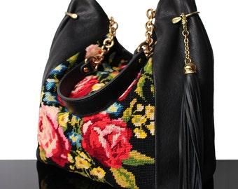 """Bucket bag """"Vintage Rose"""" black Leather bag with embroidered Roses, bag leather, Luxury Bag, Fashion bag 2018"""