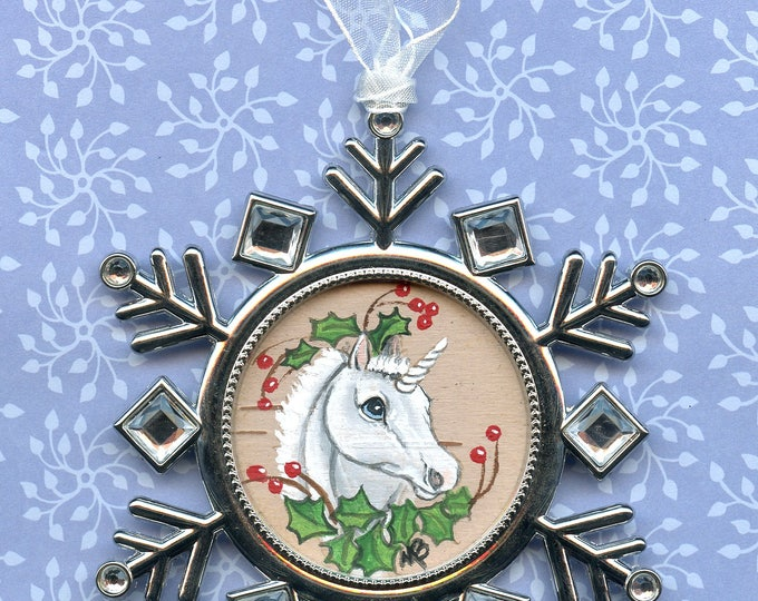 HAND PAINTED ORNAMENT; unicorn foal, holly and berries, on birch bark, silver metal snowflake, rhinestones, tree ornament