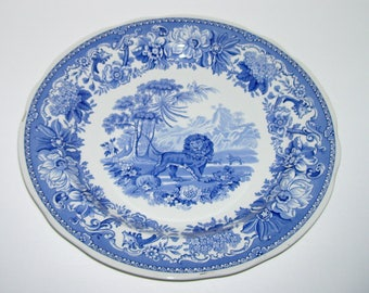 Spode Blue Room Collection Aesop Fables Lion and Fox Plate