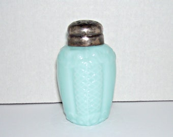 Antique Consolidated Glass Scroll and Net Blue Opaque Salt Shaker