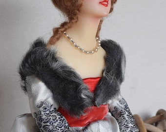 Exclusive Antique French Wax Half Boudoir Doll - 1920s