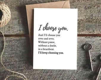 Wedding Card for Husband, Wedding Day Card, Valentine's Day Card for Wife, Anniversary Card for Him, I Choose You and I'll Choose You Card