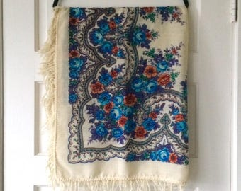 Wool Tapestry Scarf, Floral Paisley w Fringe, Cream, Blue, Peach Flowers Woven Warm Winter Shawl Wrap