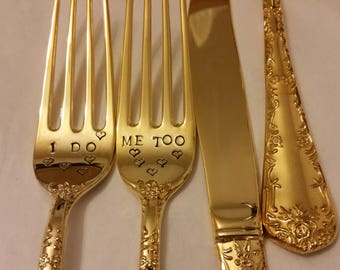 Gold flatware 2or3pc Forks Servers hand stamped Wonky I DO Me TOO wHearts 1 unstamped knife Shabby 24K Gold plated Gatsby Wedding Real Photo