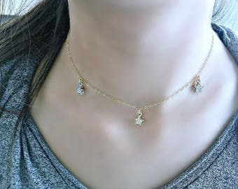 star necklace cubic zirconia star choker three cz stars gold and silver cz stars cz jewelry star jewelry minimalist jewelry choker 14k gold