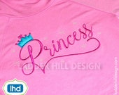 Princess Embroidery Design -- Princess Applique -- Princess Crown Applique -- Applique for Girls -- Design GI033