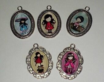 Large pendant little girl glass cabochon
