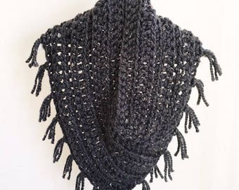 Fringed Cowl Chunky Scarf Winter Accessory Cowl with Fringe Cozy Winter Cowl Gifts Under 50 Gifts for Her Cozy Grey Cowl